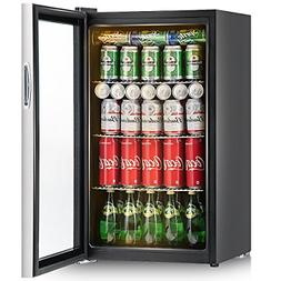 Costway 120 Can Beverage Refrigerator and Cooler Mini Fridge
