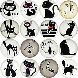 16pcs Beautiful Glass Cat Refrigerator Magnets Cute Fridge S
