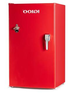 Igloo 3.2 Cu Ft Retro Mini Fridge With Freezer Red W/ Chrome