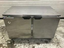 "48"" 2 Solid Door Under Counter Cooler Refrigerator Beverage"