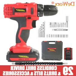 Portable Fast Charge Cordless Drill 2Speed Heavy Duty LED Li