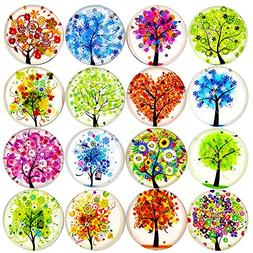 ALIGLE 16pcs Beautiful Glass Refrigerator Magnets Fridge Sti