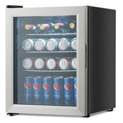 52-Can Beverage Refrigerator Cooler Mini Fridge with Glass D