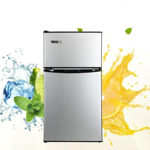 3.2 Cu.Ft Stainless Double Compact Refrigerator