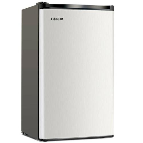 3.2 CU.FT. Mini Compact Fridge Freestanding Black & Silver