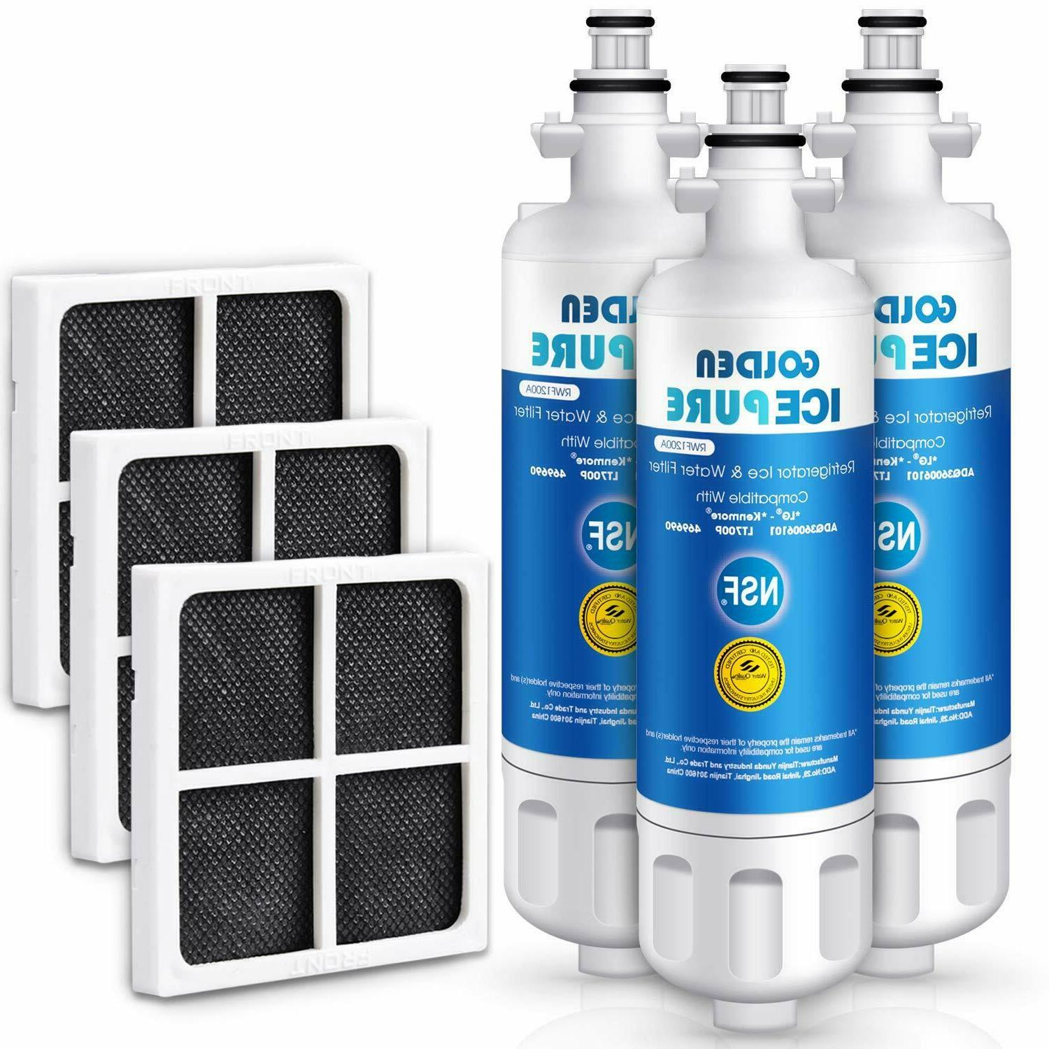 3 Pack Refrigerator Water Filter Replacement With
