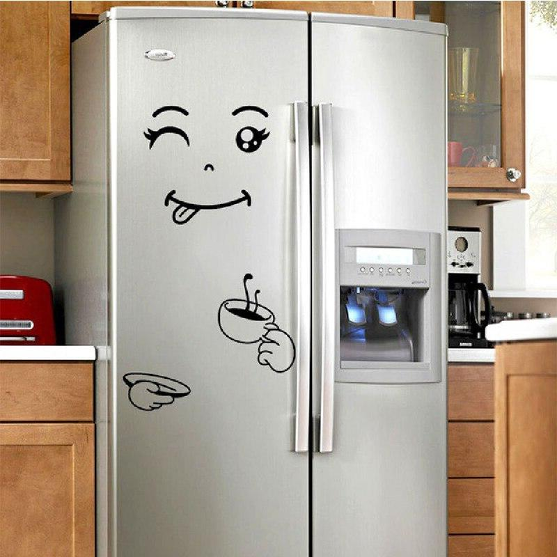 Fridge Removable Wall Sticker Face Stickers Art <font><b>Refrigerator</b></font> Decoration