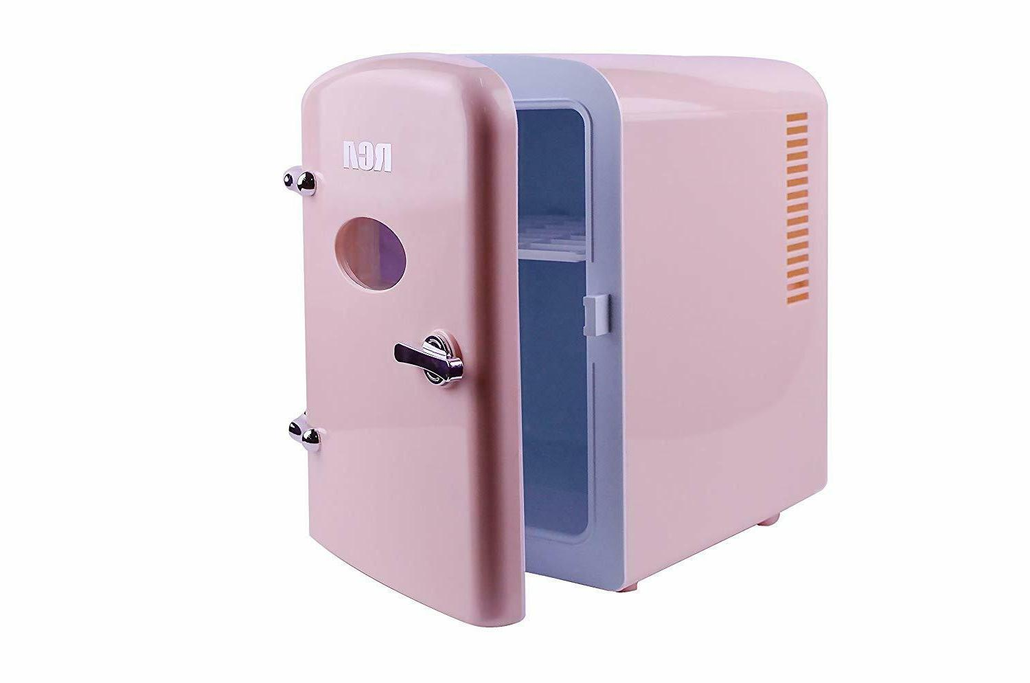 mini compact beverage refrigerator 6 can pink