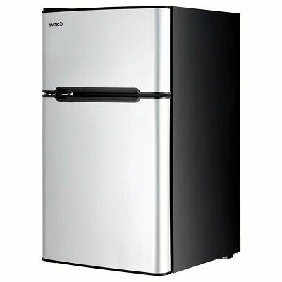 Costway Stainless Steel Refrigerator Small Freezer Cooler Fr