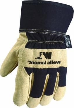 Men's Winter Work Gloves with Leather Palm, 100-gram Insulat