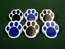 Lot of 6 Plastic Paw Print Magnetic Memo Clips, Large, Sturd