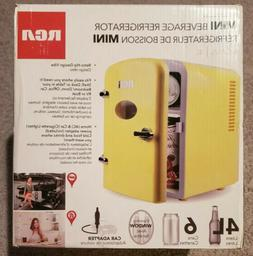 RCA Mini Compact Beverage Refrigerator, 6-Can, Yellow.  RMIS