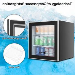 Mini Fridge Beverage Cooler Capacity Stainless Steel With Gl