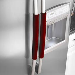 Red Refrigerator Door Handle Oven Covers Frigid Washable Kit