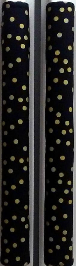 Refrigerator Oven Door Padded Handle Covers Gold Dots on Bla
