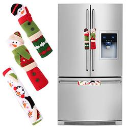Aparty4u Snowman Refrigerator Handle covers Set of 3, Chri