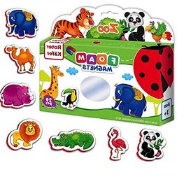 ZOO animals magnets for kids - 29 foam FUNNY ANIMALS magnets